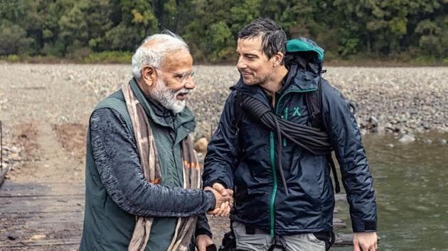 PM Narendra Modi and Bear Grylls in a still from the Man vs Wild special episode.