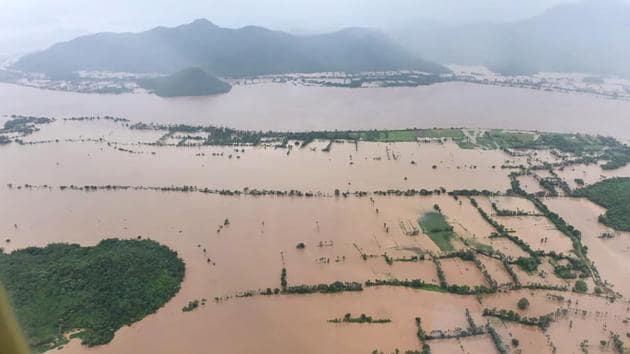 An aerial view of a flood-affected area in Andhra Pradesh.(PTI PHOTO.)
