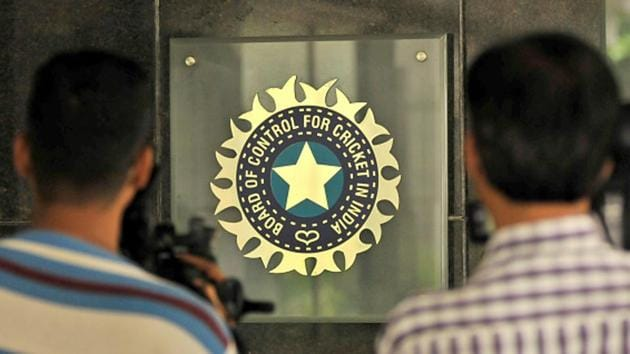 A view of the logo of the Board of Control for Cricket in India (BCCI).(Hindustan Times via Getty Images)