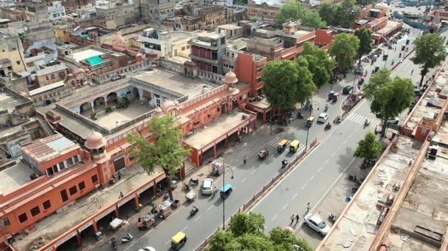 A bird's eye view of Jaipur. Internet has been snapped in some parts of Rajasthan's capital city owing to communal tensions.(Himanshu Vyas / Hindustan Times)