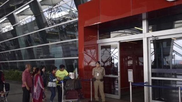 Delhi Police on Monday evening said they received a call informing them of a bomb at the Indira Gandhi International Airport's Terminal-2 (T-2).(HT Photo/ Ravi Choudhary (Representative image))
