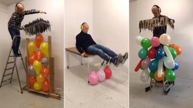 Jan Hakon Erichsen goes extreme lengths to destroy balloons and that's what makes the video both entertaining and unnerving at the same time.(Twitter/@janerichsen)