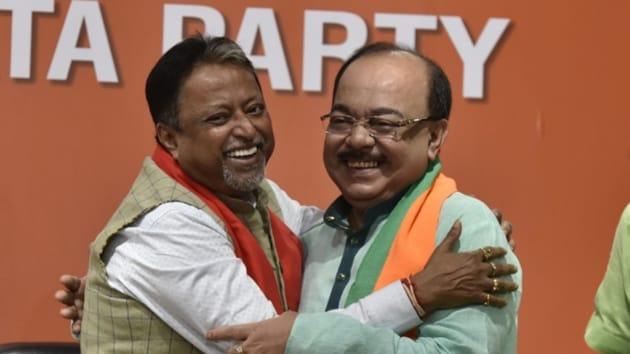 Former Mayor of Kolkata & TMC MLA, Sovan Chatterjee joined BJP presence of BJP leader Mukul Roy at BJP headquarters, in New Delhi. (Photo by Sanjeev Verma)