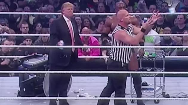 Stone Cold took down Donald Trump with a 'stunner'.(WWE)