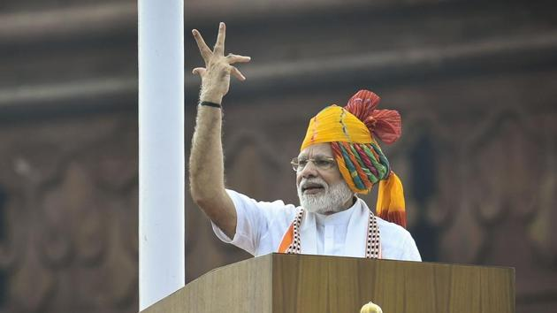 Prime Minister Narendra Modi addresses the nation from the ramparts of the historic Red Fort on the occasion of 73rd Independence Day, in New Delhi.(PTI Photo)