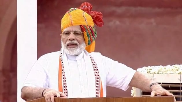 PM Narendra Modi addressed the nation from the ramparts of Red Fort on the 73rd Independence Day.(ANI / Twitter)