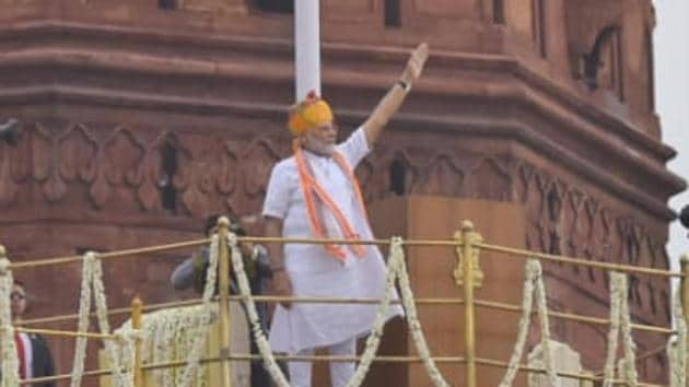 PM Modi addresses nation on 73rd Independence Day(Ajay Aggarwal/HT Photo)