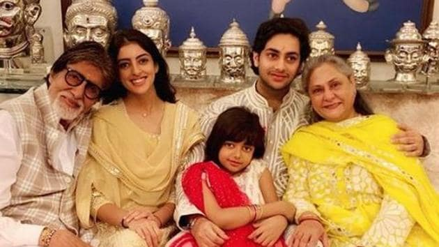 Amitabh Bachchan and Jaya Bachchan celebrate Raksha Bandhan with their grandkids Aaradhya, Navya and Agatsya.