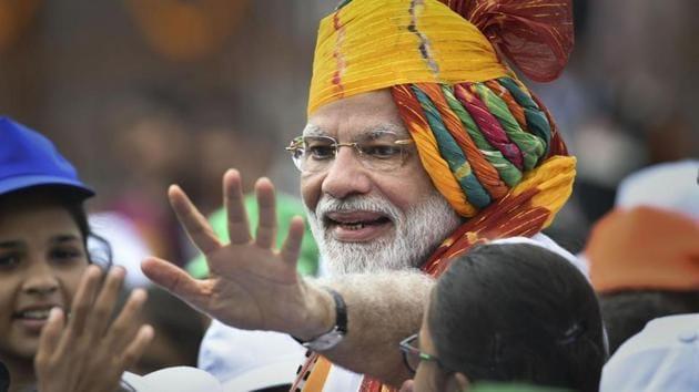 Prime Minister Narendra Modi sported a multi-coloured turban(PTI)