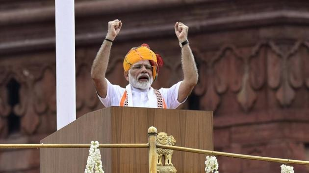 Prime Minister Narendra Modi addressed the nation during Independence Day celebrations from the Red Fort in New Delhi on Thursday, August 15, 2019.(Vipin Kumar/HT PHOTO)