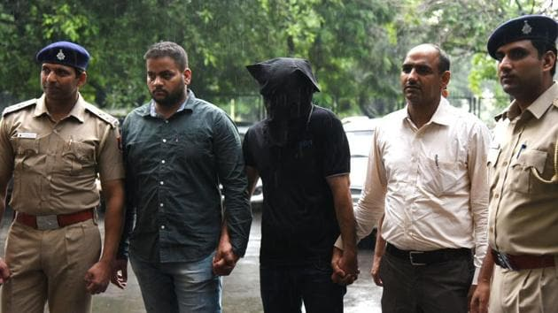 The accused in the custody of Chandigarh police on Friday.(Sanjeev Sharma/HT)