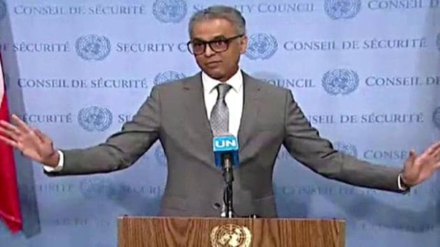 Indian Envoy to UN Syed Akbaruddin speaking on the Kashmir situation at UNSC in New York on Friday.(ANI photo)
