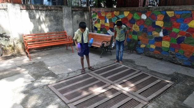 According to the norms, school buildings which came up after 2007 were equipped with rainwater harvesting systems.(HT Photo)