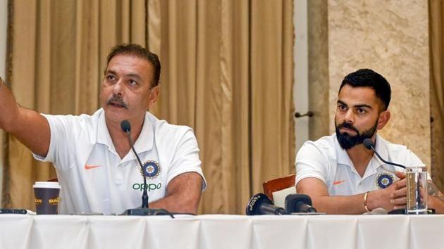 Indian cricket Captain Virat Kohli along with current head coach Ravi Shastri(PTI)