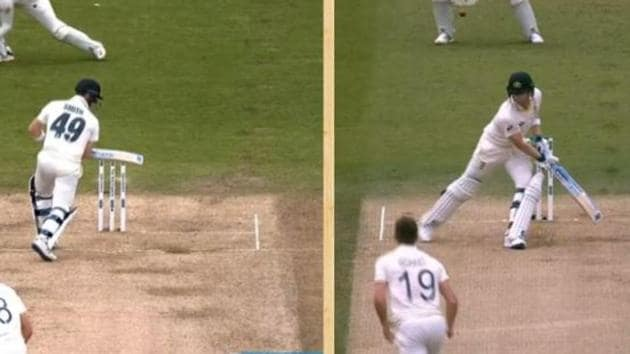 Steve Smith leaving the ball in various postures during the 2nd Ashes Test Lord's(Screen grab Twitter)