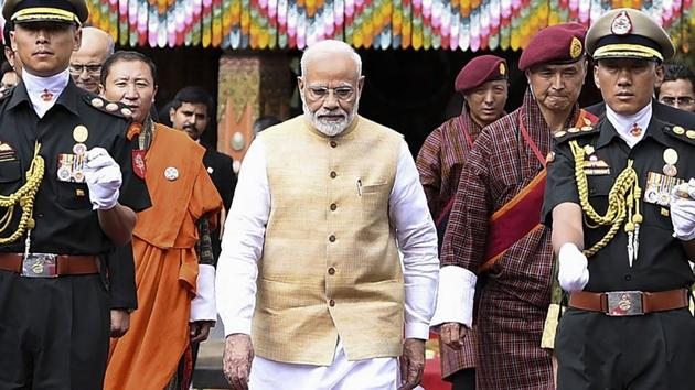 Prime Minister Narendra Modi being welcomed at Tashichhodzong Palace in Thimphu, Bhutan, August 17, 2019.(PTI photo)