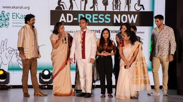 Participants of 'Ad-DRess Now' during the event at Hyatt on Saturday. The event showcased clothing for the disabled.(Milind Saurkar/HT Photo)