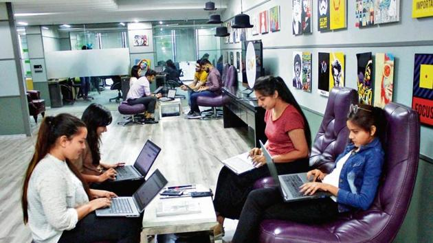 The Gowork office, at Plot 108, Udyog Vihar phase 1, in Gurugram. The city has emerged as a hub of co-working spaces and these collaborative spaces are helping professionals finally achieve the elusive work-life balance.(Yogendra Kumar / HT Photo)