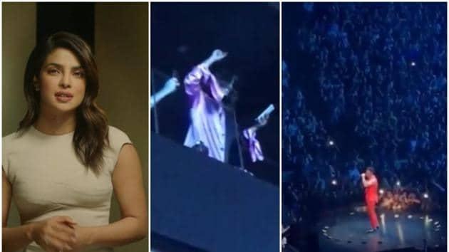 Priyanka Chopra cheers husband Nick Jonas from the stands.(Instagram)