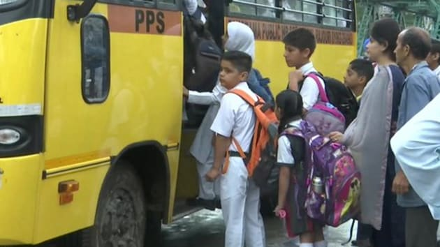 Officials said the government has made necessary arrangements for opening of 190 primary schools in Srinagar city as security forces remained deployed in most of the Valley.(ANI/Twitter)