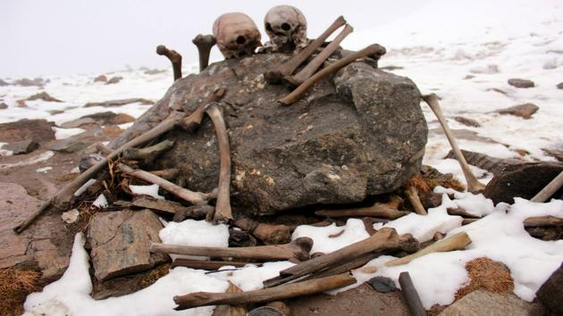 Skeletal remains at the Himalayan site of Roopkund Lake in Uttarakhand, India.(Sourced)