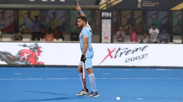 Indian hockey captain Harmanpreet Singh celebrates his goal in the final against New Zealand.(Hockey India)