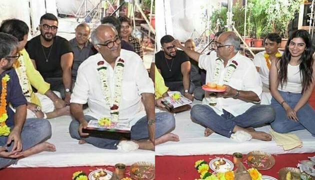 Arjun Kapoor, Boney Kapoor and Khushi Kapoor attend Maidaan mahurat ceremony(Instagram)