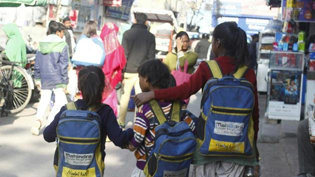 The initiative to introduce lockers in schools was started last year for primary school students in a select number of English medium schools to reduce the burden on students.(HT File / Representative Photo)