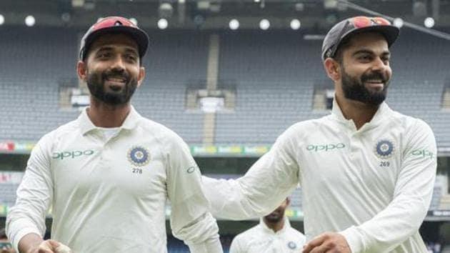 India's Ajinkya Rahane, left, and captain Virat Kohli(AP)