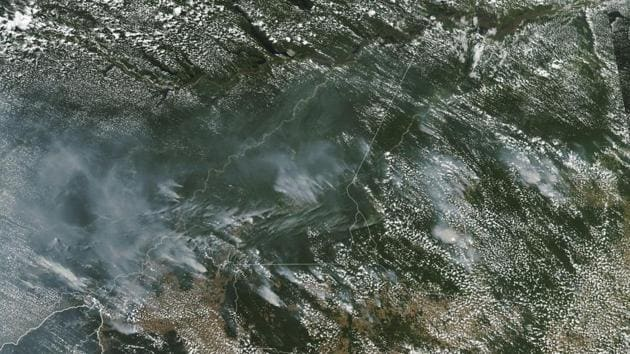 American agency NOAA released photos of smoke that could be seen from space.(AP)