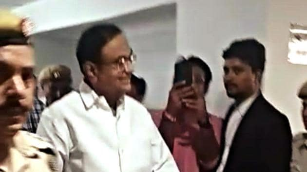 Former Union Minister P Chidambaram arrives at Rouse Avenue Court for appearance in the INX Media case in New Delhi on Aug 22, 2019. (ANI Photo)