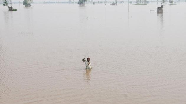 In July, the breach in Ghaggar river banks at Phulad village near Moonak had resulted in flooding of crops on 10,000 acres in six villages, besides Moonak town.(Bharat Bhushan / HT File Photo)
