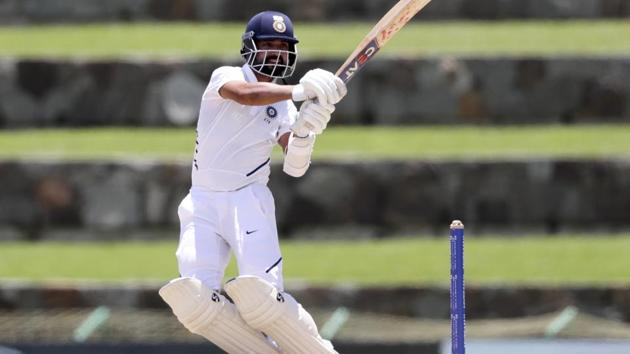 India's Ajinkya Rahane plays a shot against West Indies during day one of the first Test.(AP)