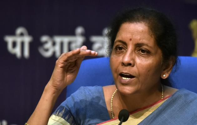 Finance Minister Nirmala Sitharaman addresses a press conference announcing a slew of economic measures to boost growth, at National Media Centre in New Delhi, on Friday, August 23, 2019.(Mohd Zakir/HT PHOTO)