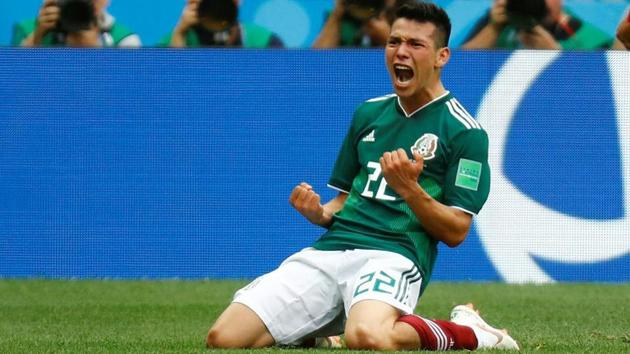Mexico's Hirving Lozano celebrates scoring a goal in the 2018 World Cup.(REUTERS)