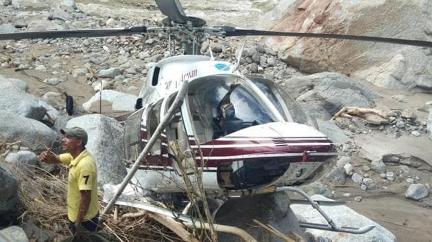 Relief operations with civil helicopters started on August 19 in the rain affected areas.(HT PHOTO.)