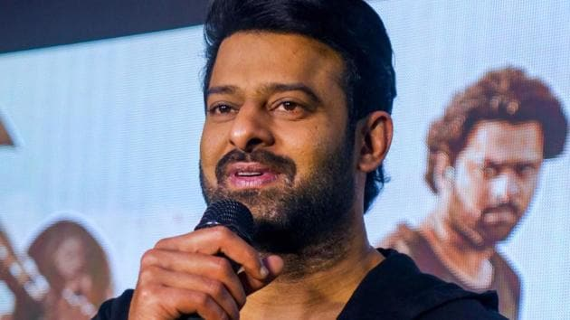Prabhas during a press conference for Saaho, in Bengaluru, Friday.(PTI)