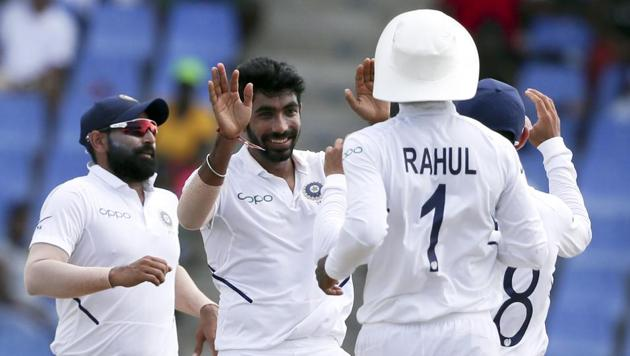 Jasprit Bumrah celebrates taking the wicket of Darren Bravo during day four of the first Test between India and West Indies.(AP)