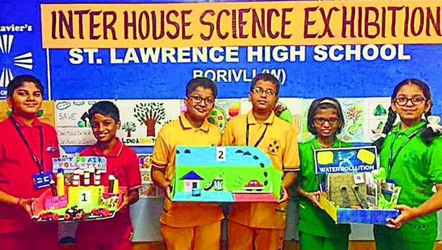 Students of St Lawrence High School, Borivli, made science projects on topics ranging from rainwater harvesting to electric car.(HT)