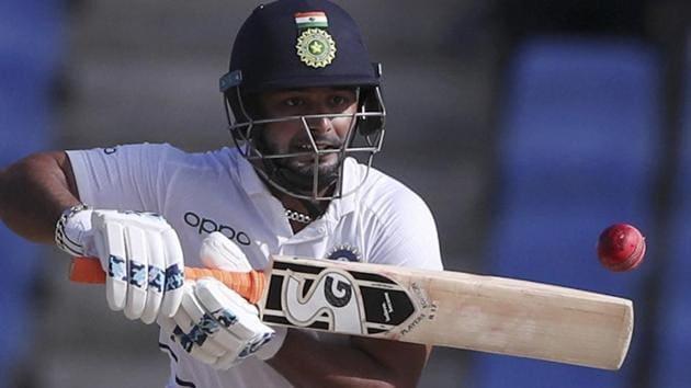 India's Rishabh Pant plays a shot against West Indies.(AP)