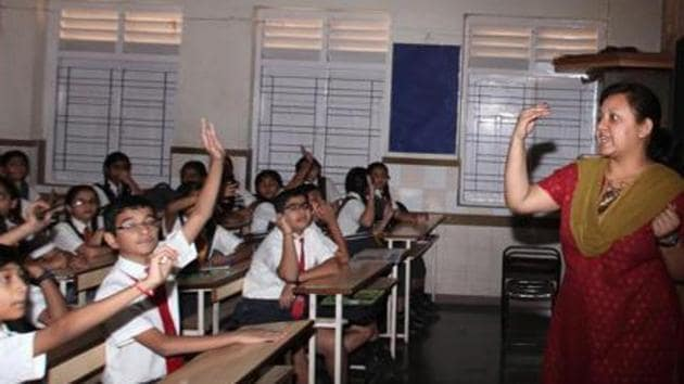 The children studying in government schools would now learn Sanskrit poems of their curriculum sung by their teachers. (Representational image)(Hindustan Times/Prasad Gori)