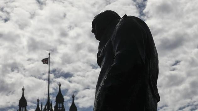 A statue of Winston Churchill, former British prime minister, stands near the Houses of Parliament in London, U.K., on Wednesday, Aug. 28, 2019.(Bloomberg)
