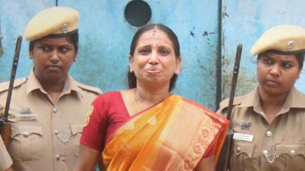 Nalini Sriharan, one of the seven convicts in the Rajiv Gandhi assassination case.(PTI photo)