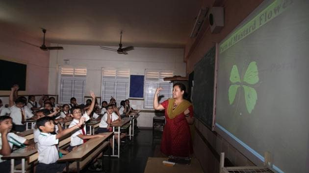 As per the CBSE norms, it's mandatory for all the affiliated schools to hire a special educator in order to provide quality education to children with disabilities.(Prasad Gori/ Hindustan Times)