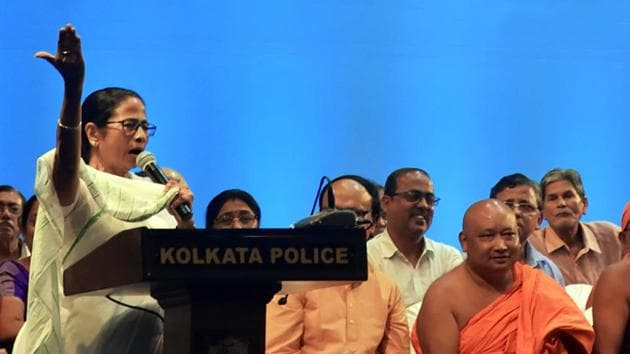 Chief Minister Mamata Banerjee announced the grant in a meeting with police officers and office bearers of various puja committees(ANI Photo)
