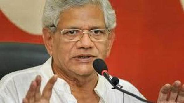 Sitaram Yechury spent over six hours with his ailing comrade and former lawmaker Md Yusuf Tarigami over two days.(HT FILE)