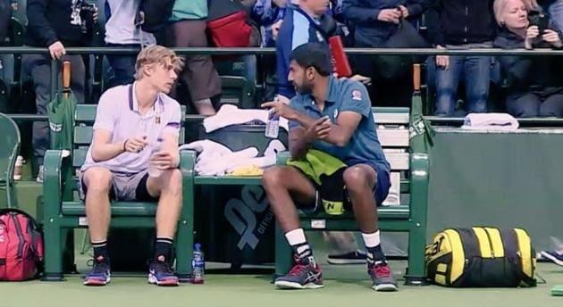 India's Rohan Bopanna (R) and his partner Denis Shapovalov (L)(Twitter)