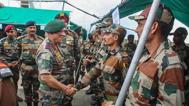 Srinagar: Chief of Army Staff, General Bipin Rawat on a two-day visit to the Valley to review the prevailing security situation after the scrapping of Article 370, in Srinagar, Friday, Aug 30, 2019. (PTI Photo/Twitter) (PTI8_30_2019_000192B)(PTI)
