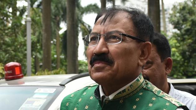 Trinamool Congress MP and former footballer Prasun Banerjee summoned by Central Bureau of Investigation (CBI) in connection with Narada sting case at Nizam Palace in Kolkata.(Samir Jana/HT Photo)