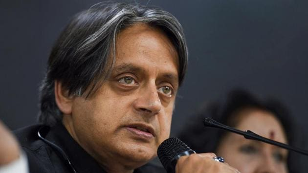 Congress leader Shashi Tharoor addresses a press conference at AICC headquarters in New Delhi.(PTI)